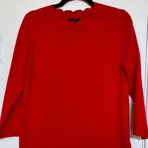Halogen Red Scallop 3/4 Sleeve Sweater